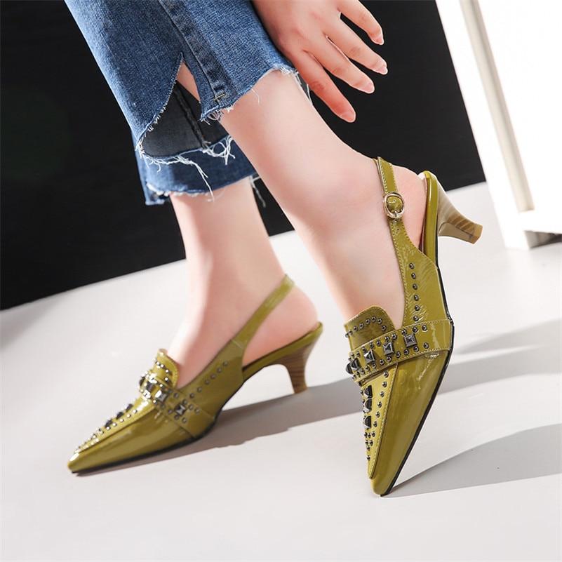 Las Dedo Tacón Alto Mujer Zapatos De Fiesta 1 Del Pie Mujeres Boda Sandalias Cuero Genuino Punk 2019 Fedonas Bombas Nuevo 2 Remaches Puntiagudo 0wq8ITn4
