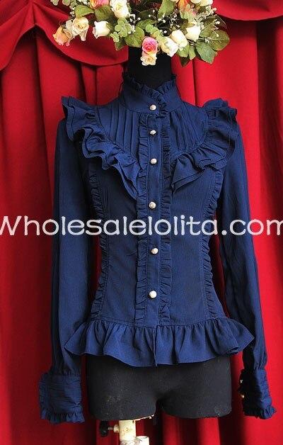 Женская темно-синяя шифоновая блуза с воротником-стойкой и длинными рукавами в мелкие складки, рубашка Лолита, Готическая блузка, изготовленная на заказ блузка