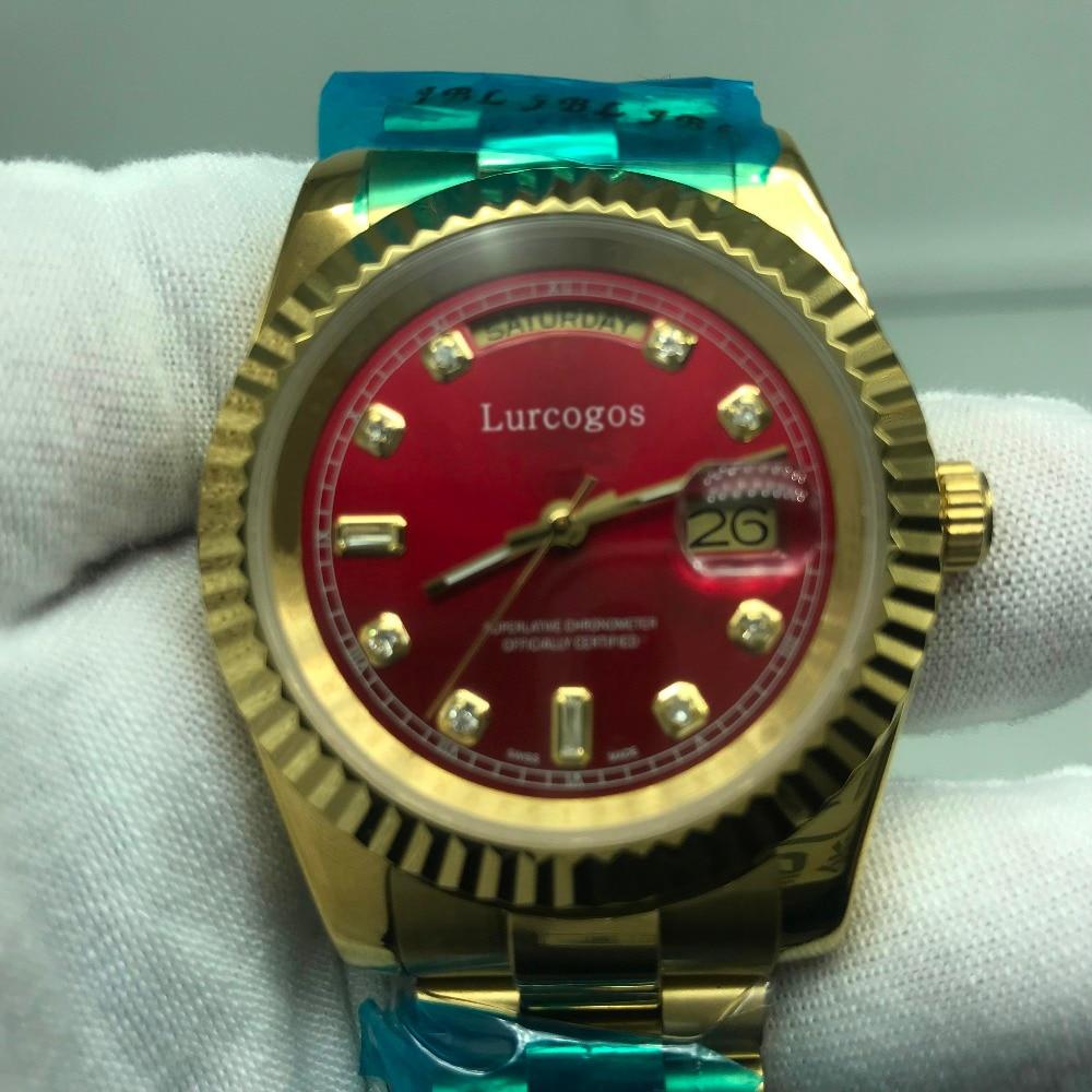5 Kleuren Gouden Horloge Rode Wijzerplaat Dag Datum Automatische Glide Glad 40mm Heren Aaa Kwaliteit Horloges
