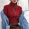 NYOOLO Весна осень женщины топы Мода Причинно Офис Дамы Круг полный рукавом Молнии Трикотажные Пуловеры Свитера женская одежда