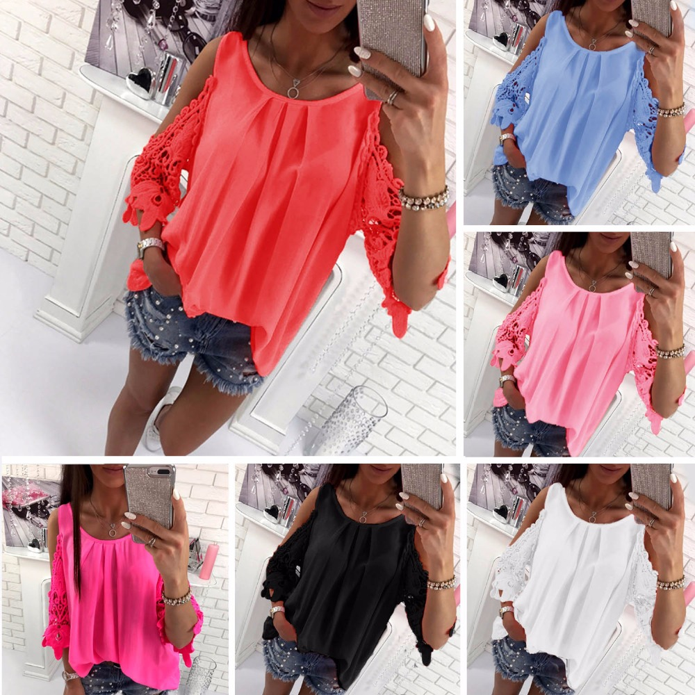 New Fashion Casual Women   T  -  shirts   O-Neck Patchwork Lace Short Sleeve   Shirt   Plus Size Solid Color Loose Women Clothes Female Tops