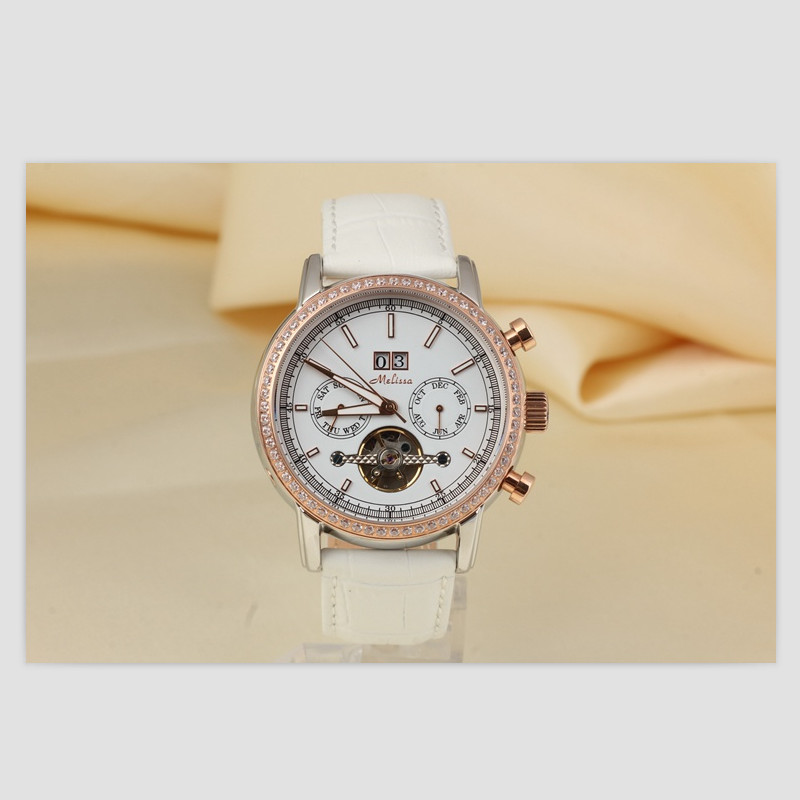 купить Melissa Women Mechanical Watches Self-winding Tourbillon Watch Business Design Genuine Leather Wrist watch Calendar Montre Reloj по цене 7865.27 рублей