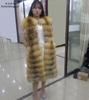Linhaoshengyue натуральный Красный Цвет Лиса и реальные серебро меха лисы 110 см длинный жилет