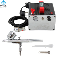 OPHIR Cake Decorating Airbrush Kit 0.3 mm Dual Action Airbrush with Air Compressor for Eyebrow Pencil Makeup Nail Art_AC091+004A