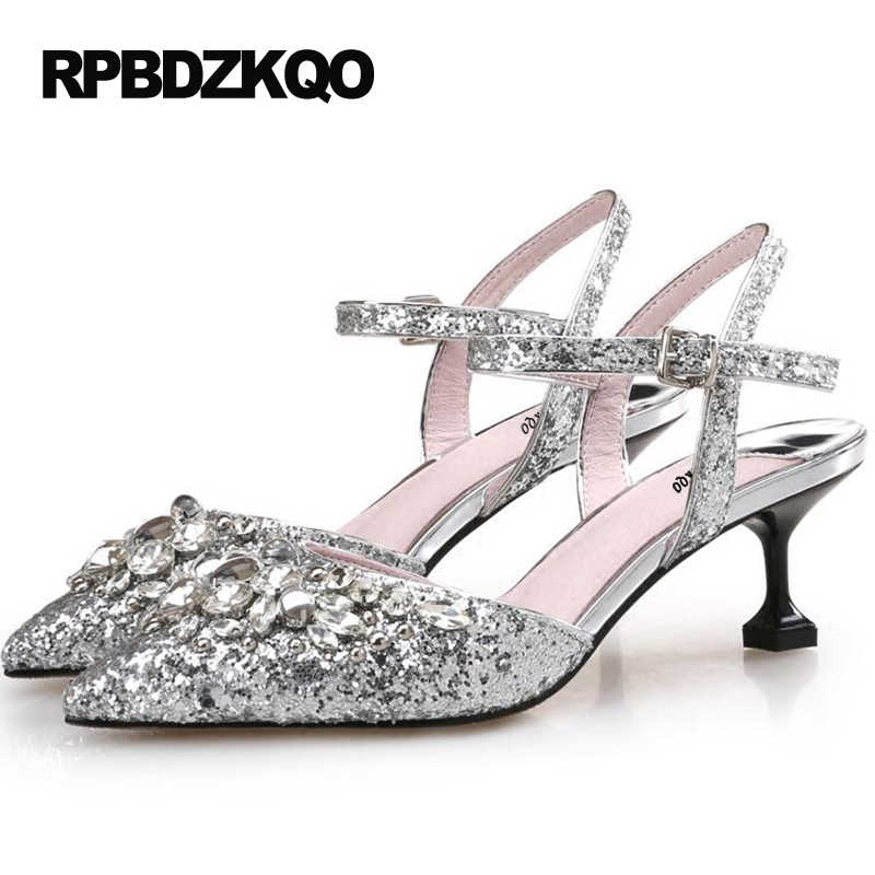 68b42e0119d3 Female Crystal High Heel Shoe Prom Cinderella Slingback Silver Shoes Thin  Pointed Toe 5cm 2 Inch