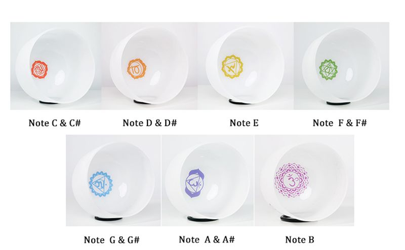 CVNC 8 quot 14 quot Set of 7PCS Chakra Design Note CDEFGAB Frosted Quartz Crystal Singing Bowls in Bells amp Chimes from Sports amp Entertainment