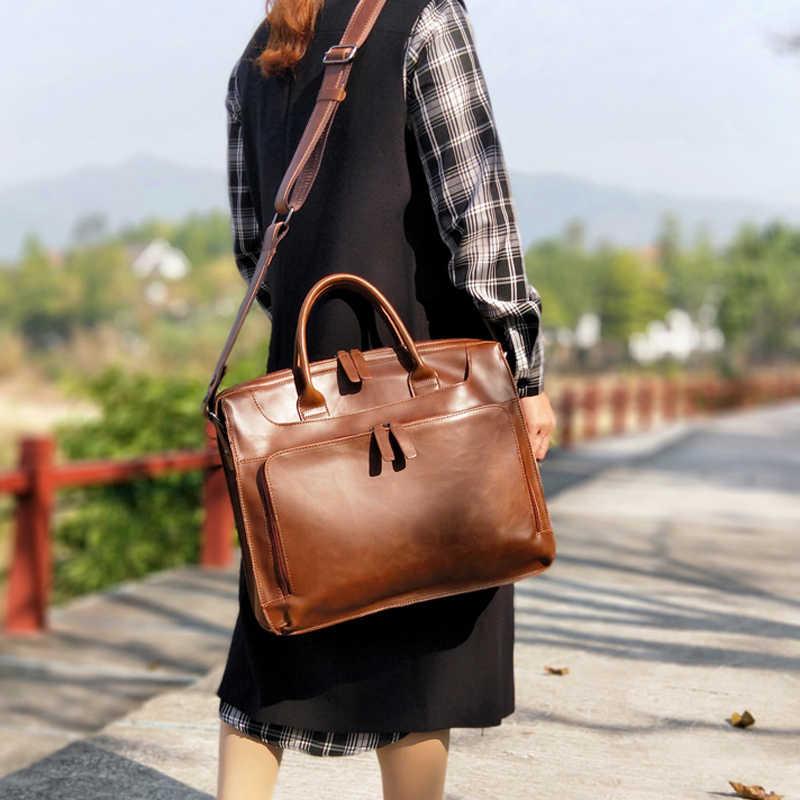BJYL ретро женский портфель женская сумка для компьютера многослойная модная сумка через плечо художественная деловая сумка для ноутбука сумки через плечо