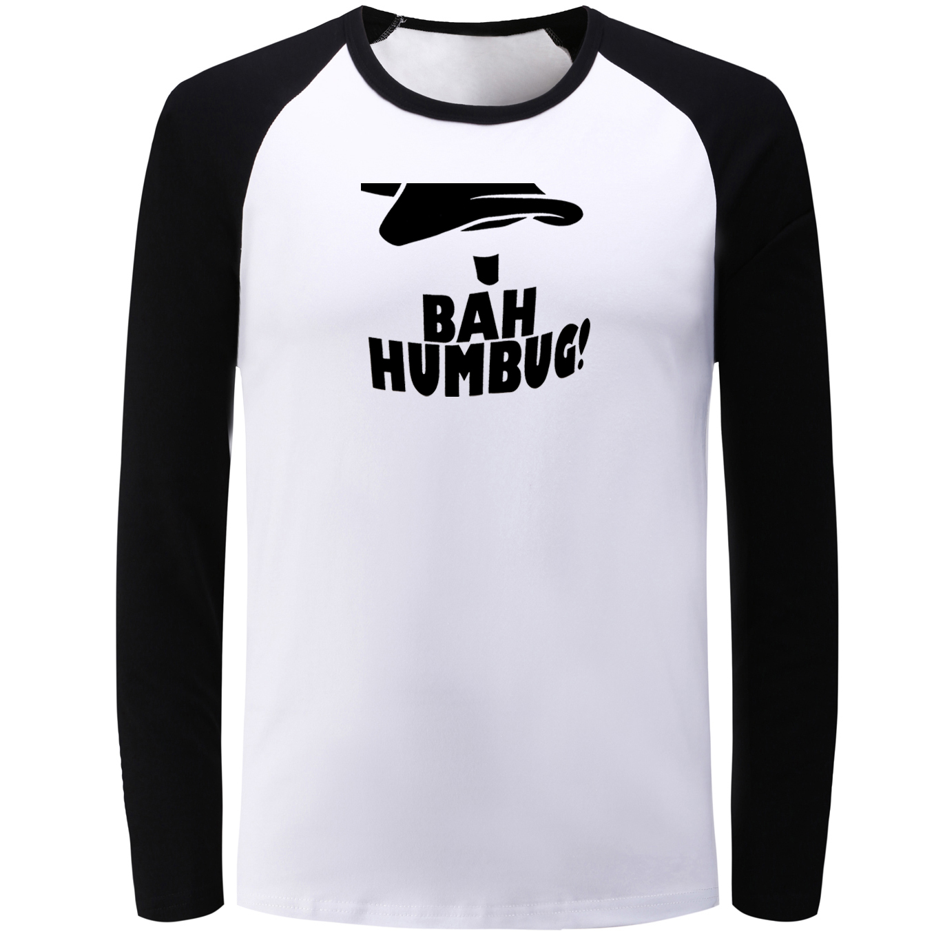 IDzn Blue Black Raglan Long Sleeve T-shirt BAH HUMBUG Graphic Fashion T Shirt Men Women  ...