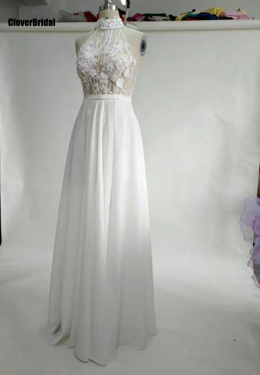 Modern high neck halter low back sheer illusion lace appliques top chiffon skirt long sheer robe 2017   prom     dress   chiffon