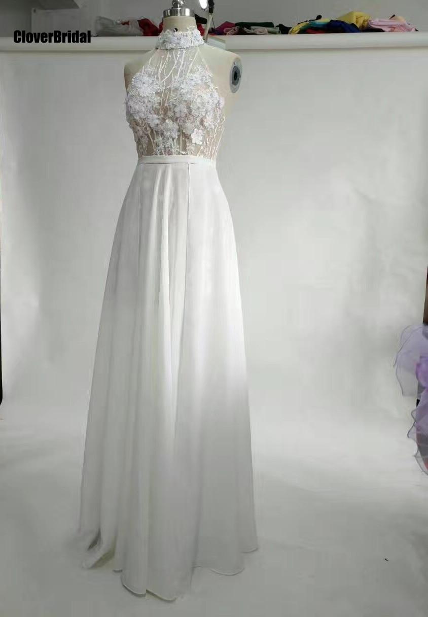 Moderne col haut licou bas dos pure illusion dentelle appliques top en mousseline de soie jupe longue pure robe 2017 robe de bal en mousseline de soie
