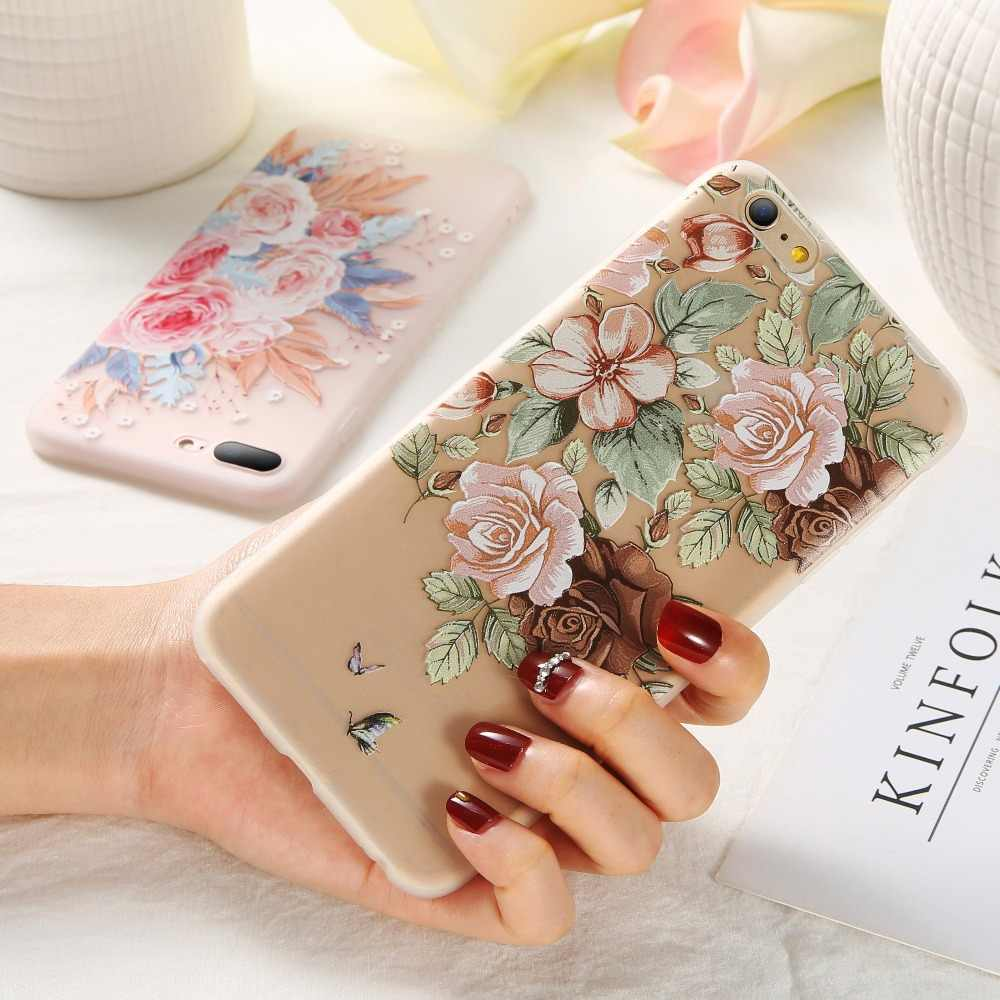 KISSCASE Flower Patterned Case For iPhone 5 5S SE Case For iPhone 7 6 6s 8 Plus X XR XS Max