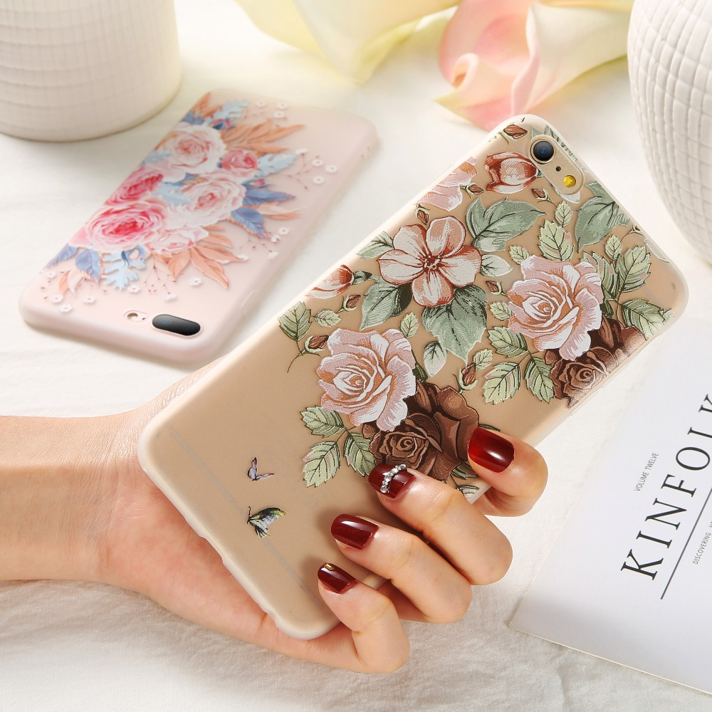 KISSCASE Funda estampada de flores para iPhone 5 5S SE Funda para iPhone 7 6 6s 8 Plus X XR XS Max