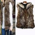 Women Vest Winter Faux Fur Vest Jacket Sleeveless Body Warm Coat Hooded Waistcoat Gilet Large size Colete Feminino Fanoni