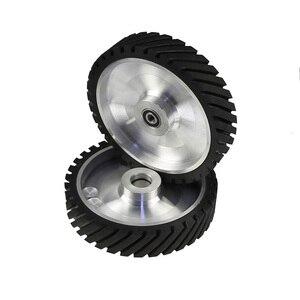 Image 4 - 250*50mm Serrated Belt Grinder Contact wheel Rubber Wheel for Abrasive Sanding Belt