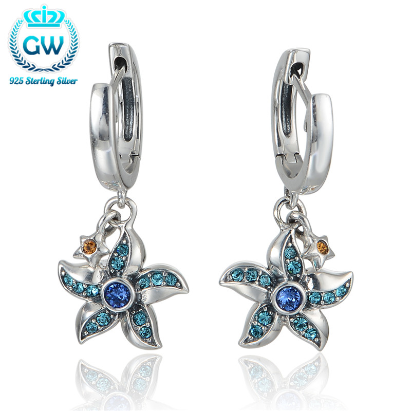 925 Sterling Silver Starfish Earring With Blue Crystal For Women Wedding Party Earings Fashion Brand GW Jewelry Er1028