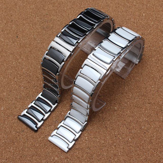 new 20mm 22mm ceramic and stainless steel watchband white or black watch band watch strap Butterfly Buckle for diamond wristband