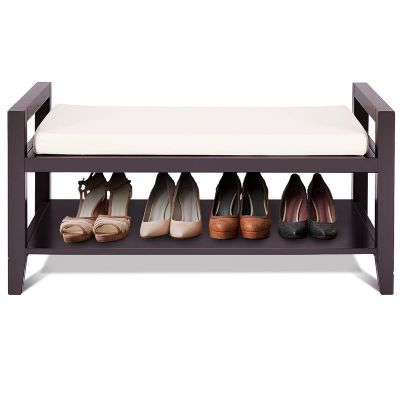 Simple Compact Style Wood Shoe Storage Rack Bench with Ottoman Cushion Seat Comfortable Top Seat Helpful Armrests HW54873