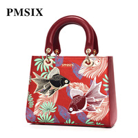PMSIX Brand Fashion Handbags Embroidery Red PU top Handle Bags For Women Gorgeous Exquisite Casual High Quality Shoulder Bags