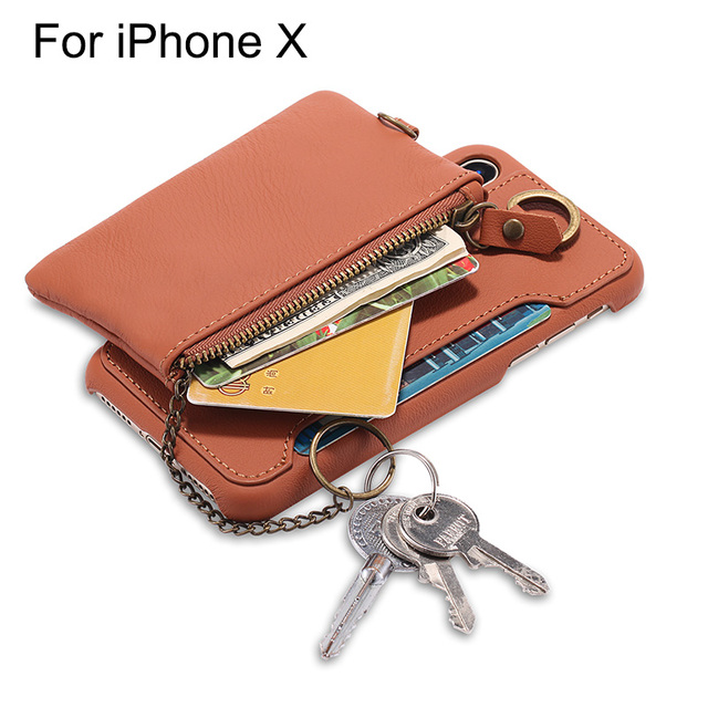 separation shoes b943b 7e913 US $21.99  Multifunction Card Holder Cover Genuine Leather Case for iPhone  X Detachable Wallet Pouch with Strap for Women-in Wallet Cases from ...