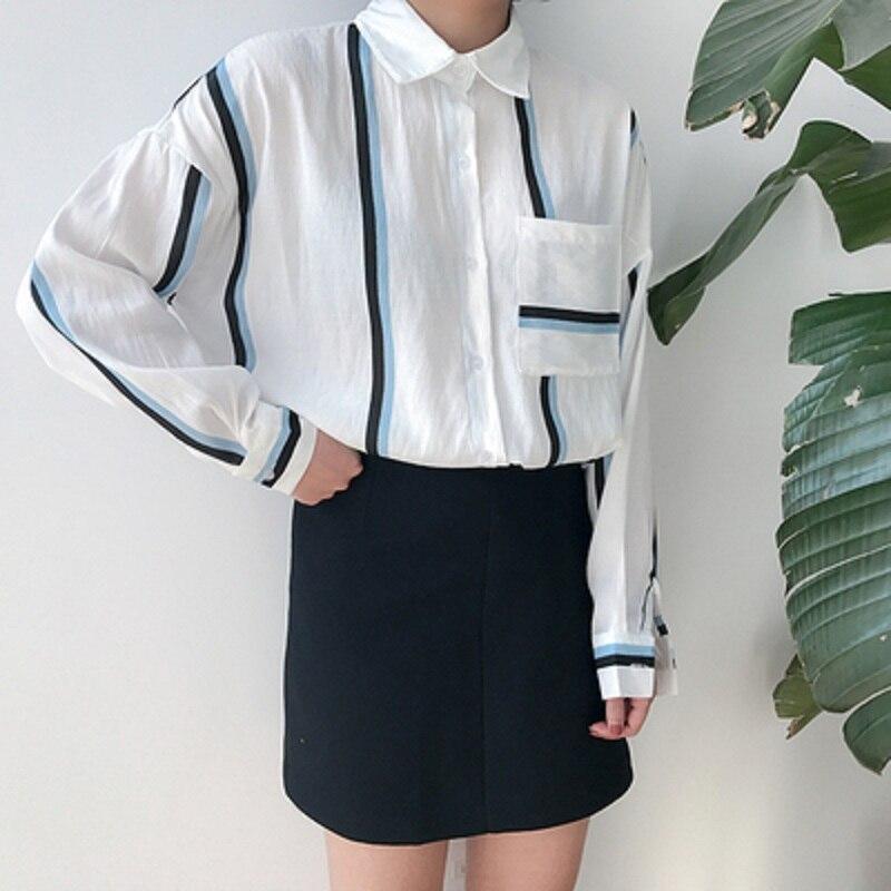 Cardigan Camisa Coreano Ropa Para Color Suelta Y Bf Golpeó Kawaii Viento Harajuku 2018 Rayado Casual Femenino Mujeres Picture El Tops xw4qxzUPO
