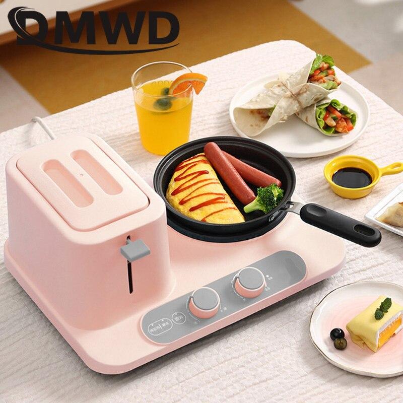 DMWD petit déjeuner Machine de cuisson Mini grille-pain Omelette poêle électrique poêle nouilles marmite Toast pain four oeufs cuisinière