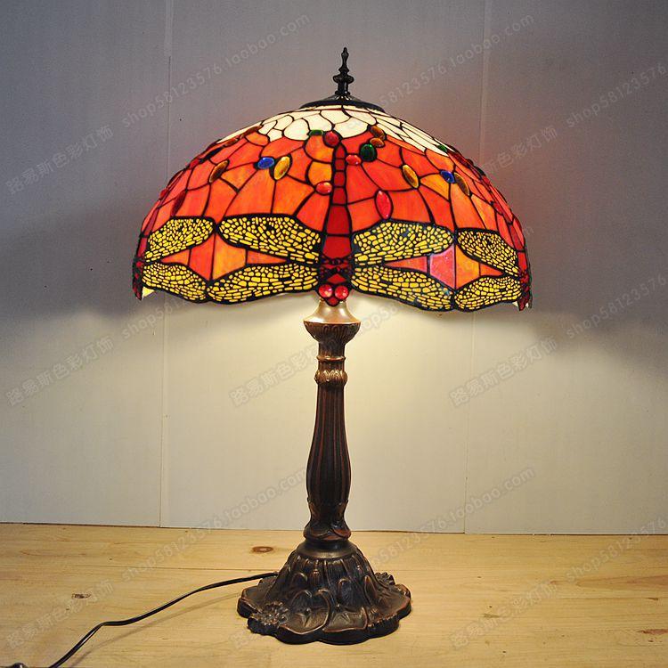 18 polegada red dragonfly sala de estar lâmpada barra tiffany europeia liga fundo iluminação retro nostalgia exportação lâmpadas - 4