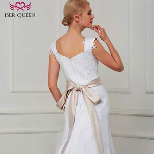 Image 4 - Çift omuz Cap Sleeve dantel Mermaid düğün elbisesi es kanat saf beyaz Custom Made büyüleyici gelin düğün elbisesi W0070