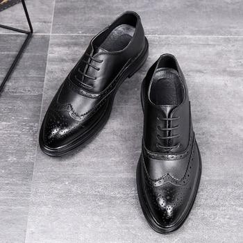Zapatos de vestir para hombre Desai, zapatos Oxford de estilo Simple de calidad, zapatos formales con cordones de marca para hombre, zapatos de negocios de cuero para hombre DS3019