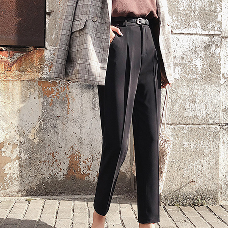Image 3 - BGTEEVER OL Style White Women Pants Casual Sashes Pencil Pant High Waist Elegant Work Trousers Female Casual pantalon femme 2018