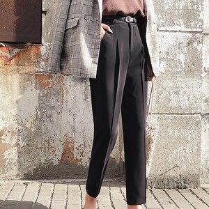Image 3 - BGTEEVER OL Style White Women Pants Casual Sashes Pencil Pant High Waist Elegant Work Trousers Female Casual pantalon femme