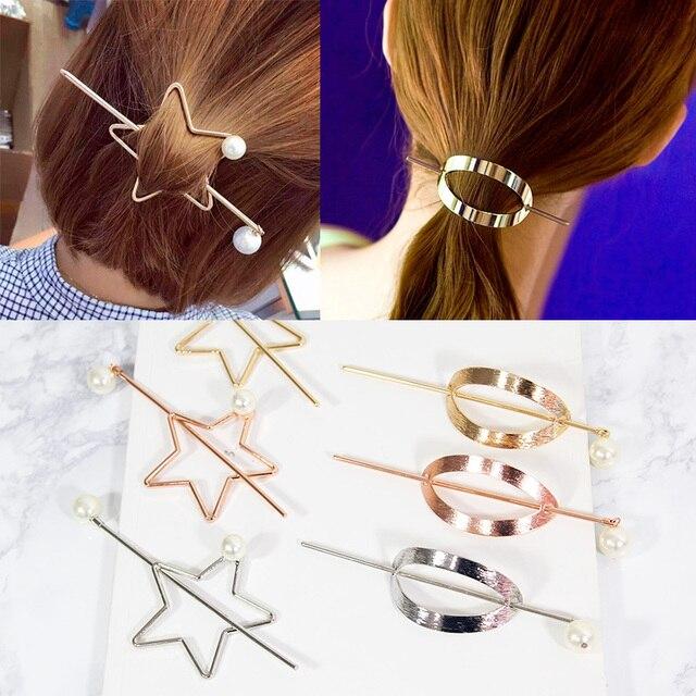 1PC New Bohemia Hairgrip Retro Love Hair Clasp Alloy Pearl Elegant Circle Hair Pins Hair Sticks Combs For Women Hair Accessories