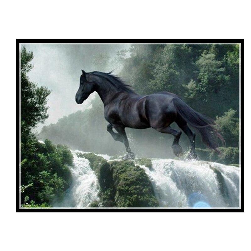 Золотые панно, Рукоделие, сделай сам DMC Вышивка крестом, наборы для вышивания набор 14ct без напечатанной хлопковой нити бегущая лошадь вышивк...