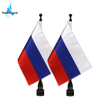 Motorcycle Luggage Rack Russia Flag + Flag Pole Black Rear Side Mount Vertical Flag Pole For Harley Touring Honda Goldwing image