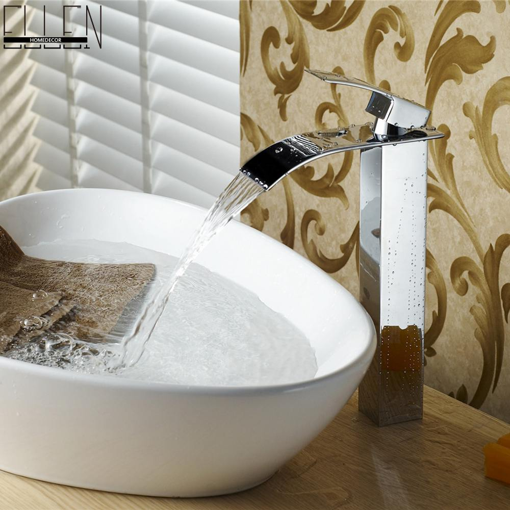 ФОТО Square Waterfall Bathroom Sink Faucet Tall Mixer Tap Hot and Cold Single Handle Chrome Finished