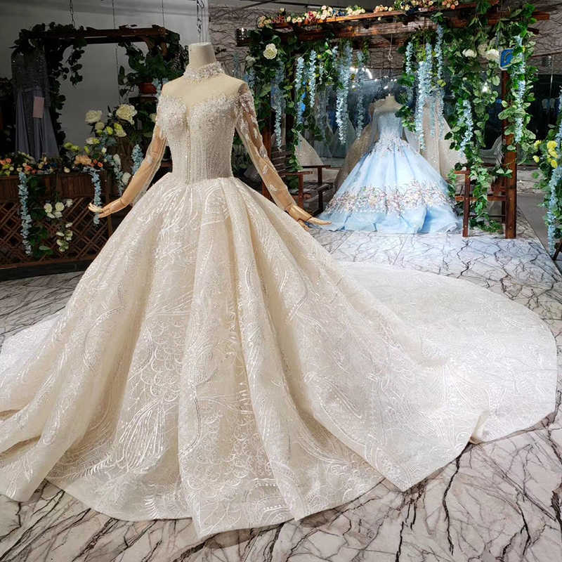 HTL475 luxury wedding dresses with wedding veil high neck long tulle sleeves button bridal gowns with train vestido de casamento