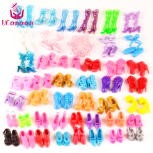 UCanaan 60 Pairs Shoes Fashion Doll Shoes Heels Sandals for Barbie Dolls Outfit Dress Best Gift for Little Girl(China)