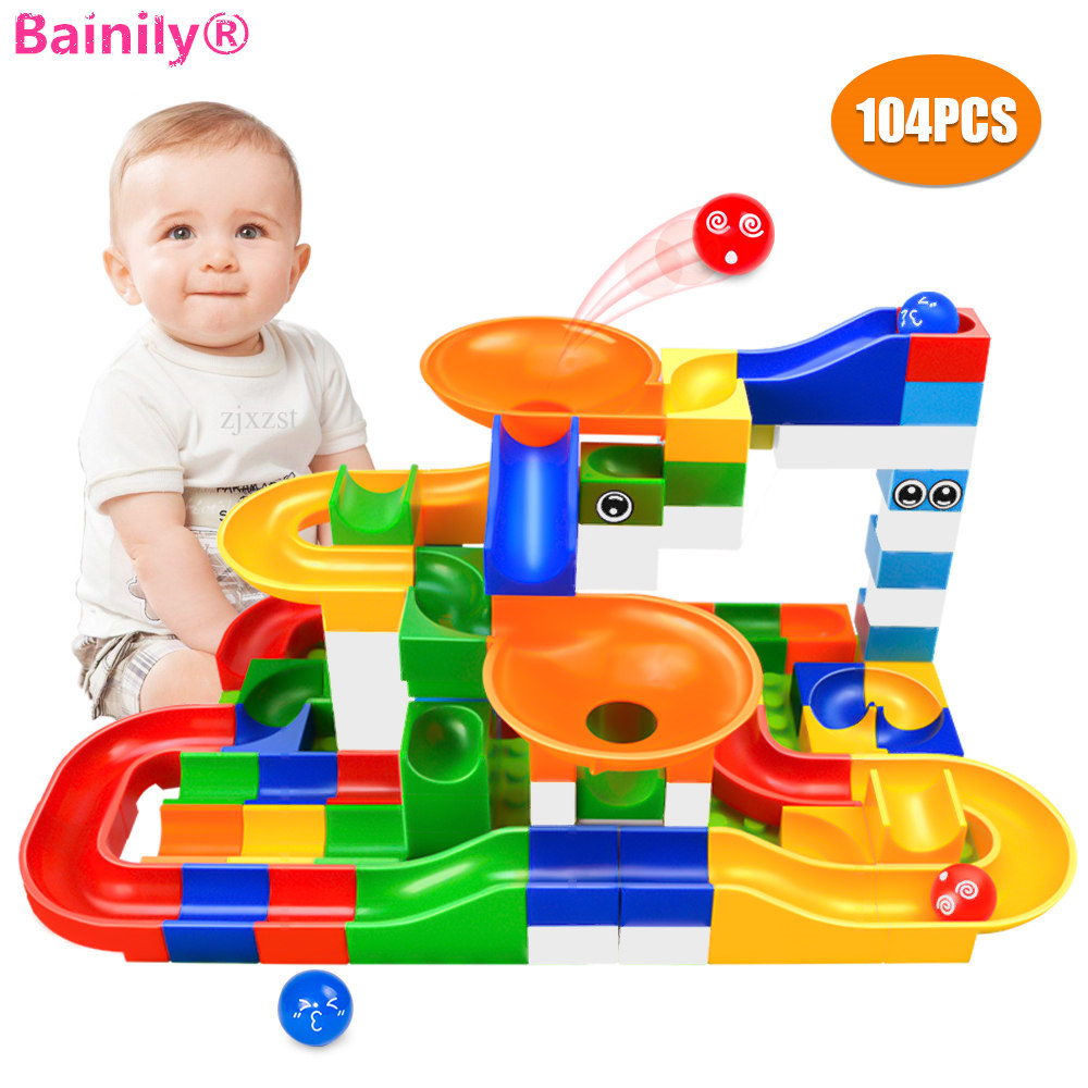 104PCS Marble Race Run Maze Ball Track Building Blocks Funnel Slide Big Size Bricks Toys Compatible With LegoINGly Duplo Blocks large electric maze ball track marble race run blocks diy inserted building blocks early educational puzzles toys for children