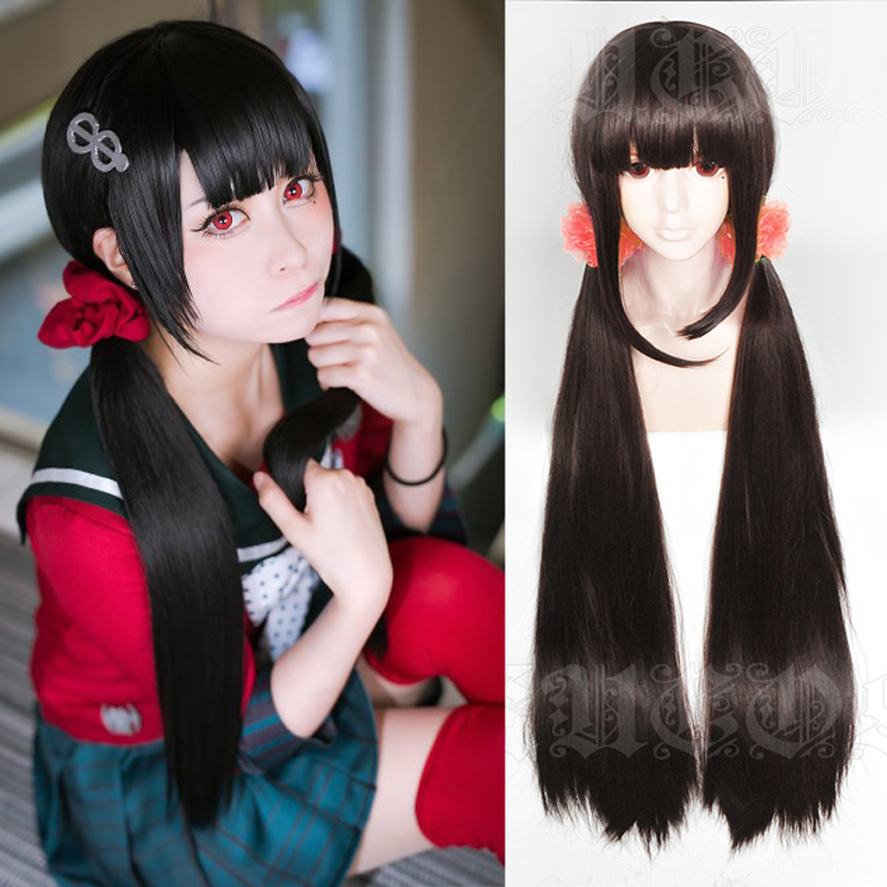 Harukawa Maki Cosplay Wig NewDanganronpaV3 Costume Play Wigs Black long straight wig Halloween Costumes Hair