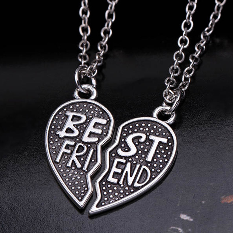 2Pcs Creative Style Fashion Friendship Broken Heart Parts Necklace 2 Best Friend Pendants Necklaces Share With Your Friends image