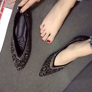 Image 3 - SWYIVY Womants Flats Shoes Rhinestone Autumn Spring New Female Luxury Crystal Casual Shoes Pointed Toe Comfortable Flats 40 Size