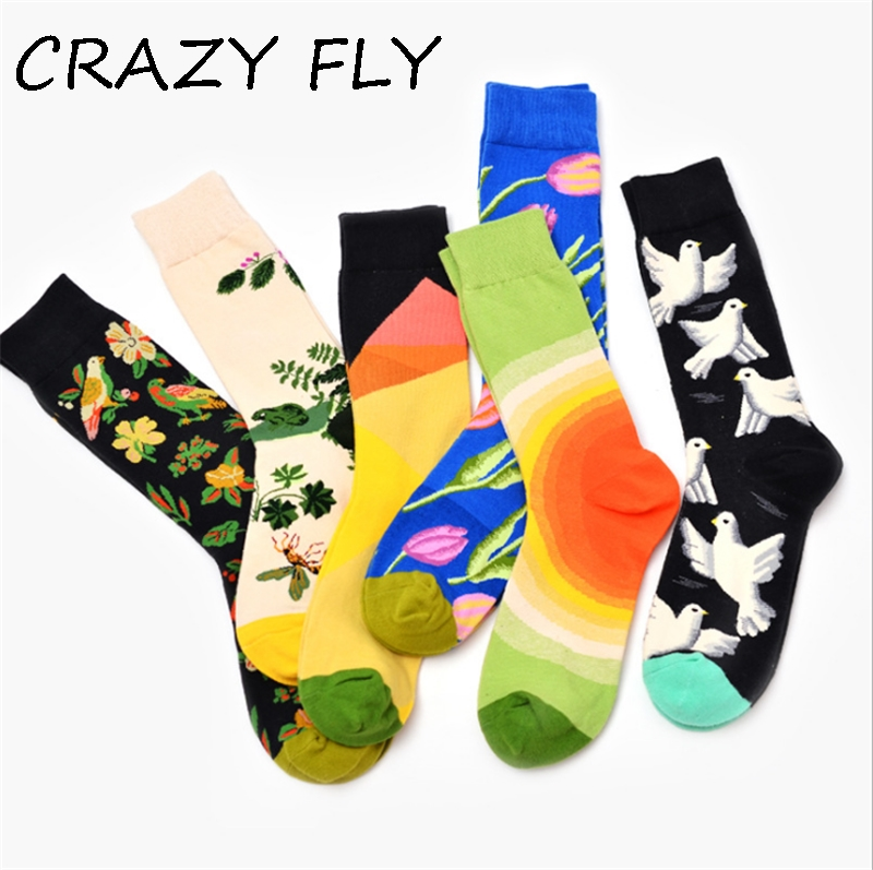 CRAZY FLY New Creative Unisex Harajuku Novelty Meias Flowers Birds Pattern Funny   Socks   Winter Cotton Skateboard Long Chaussettes