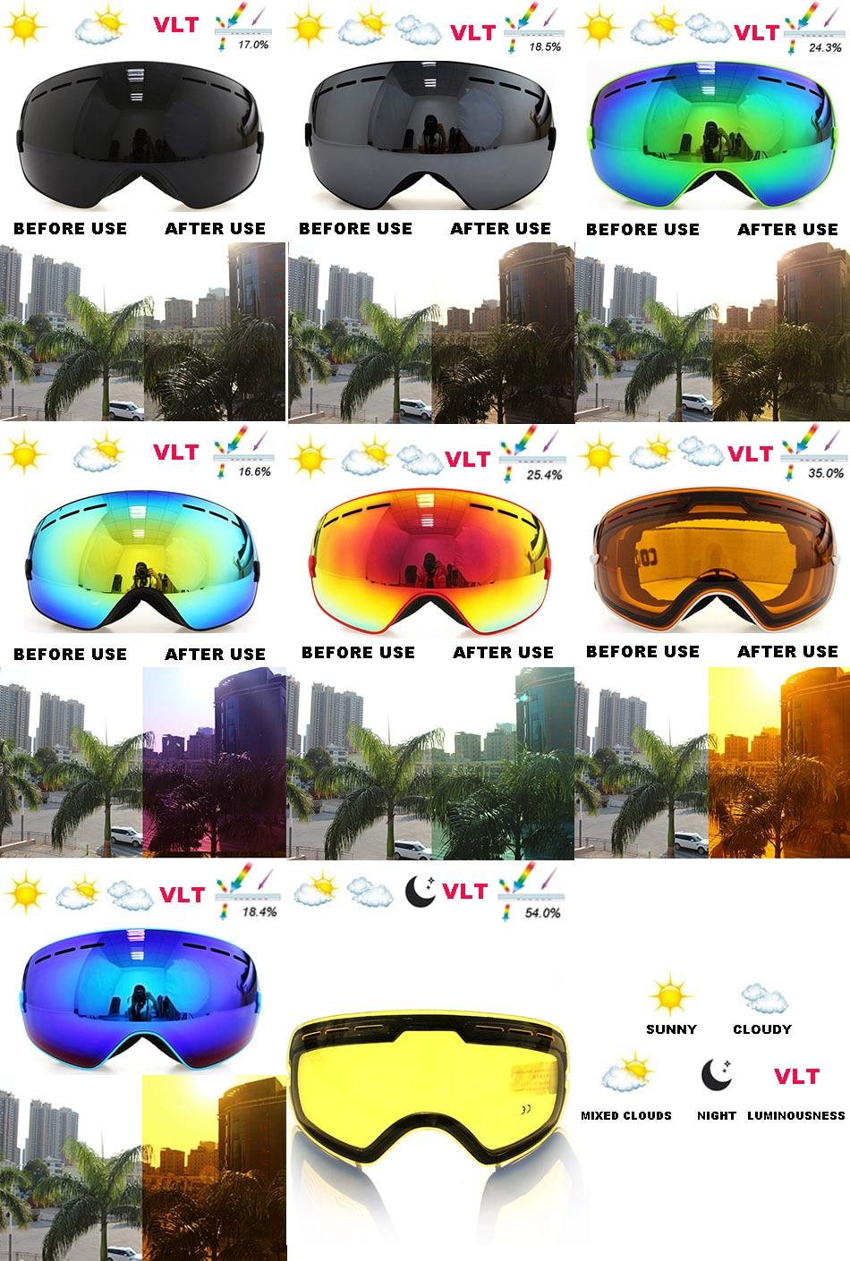 c8de7aebe3b9a Φ ΦCOPOZZ marca UV400 anti-fog de esqui óculos de proteção 2 lente ...