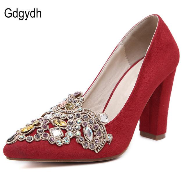Gdgydh 2017 Nueva Primavera Otoño Bombas de Las Mujeres del Rhinestone Dedo Del Pie Acentuado Gruesos Ocasionales de Tacón Cuadrado de Tacón Rojo Zapatos de Novia boda