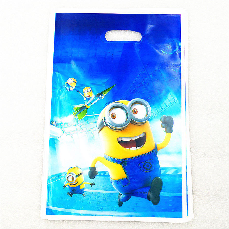 10pcs lot Minions Gift Bag Party Decoration Plastic Candy Bag Loot For Kids Birthday Festival Baby Shower Party Supplies Favors in Gift Bags Wrapping Supplies from Home Garden