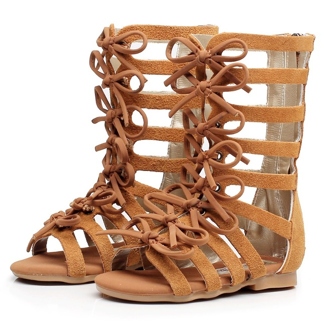 High-top fashion Genuine leather summer brown black girls gladiator sandals boots Roman kids sandals toddler baby sandals shoes