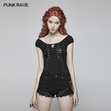 цены Punk Rave Women T-shirt Steampunk Fashion Black Gothic Cotton Lacing Short Sleeve Personality Tops for Women