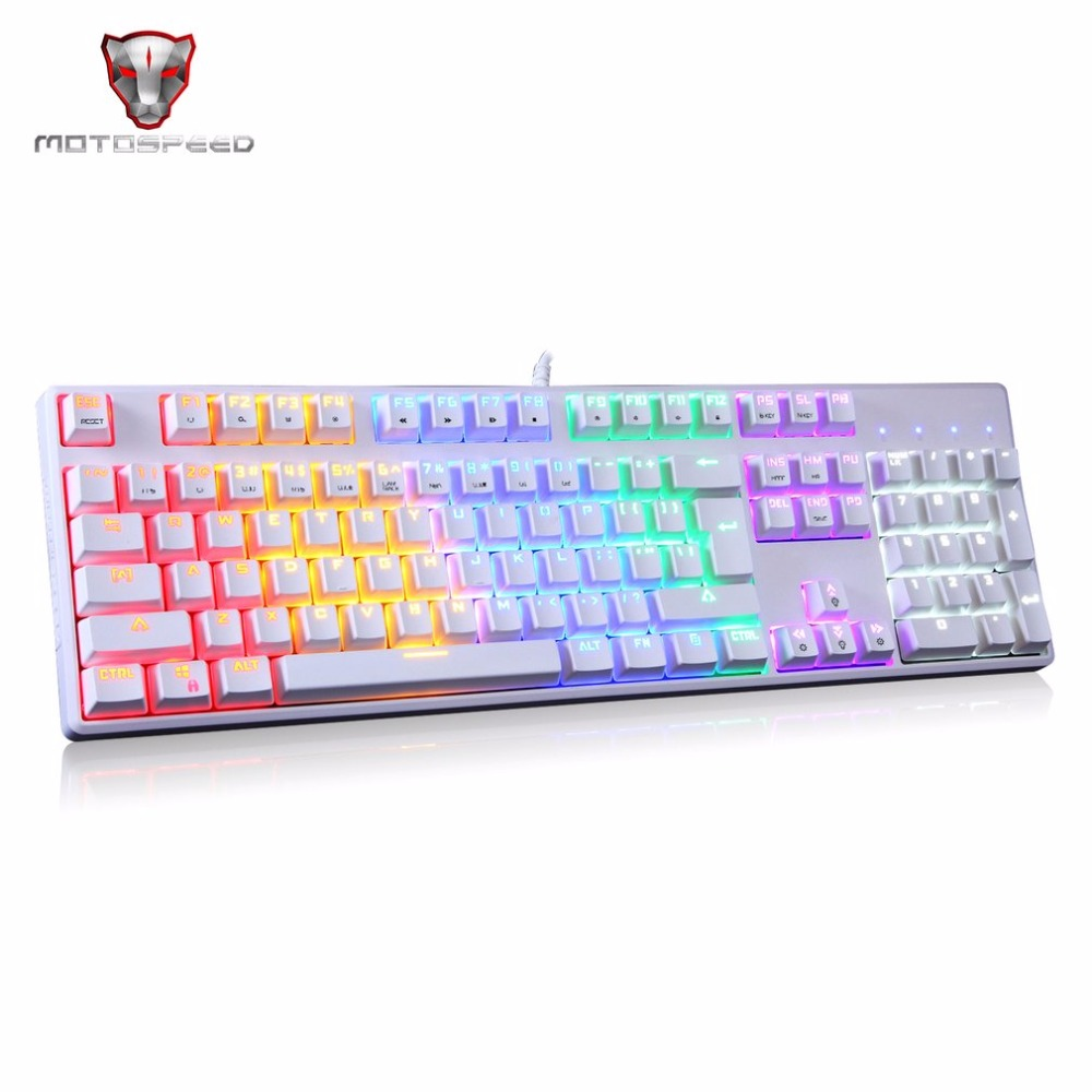 Motospeed CK96 Wired Mechanical Keyboard Full 104 Keys Blue Switch Game keyboard LED Backlit Anti-Ghosting For PC Laptop Gamers free gift mouse pad motospeed ck104 wired mechanical keyboard 104 keys real rgb blue switch gaming led backlit anti ghosting