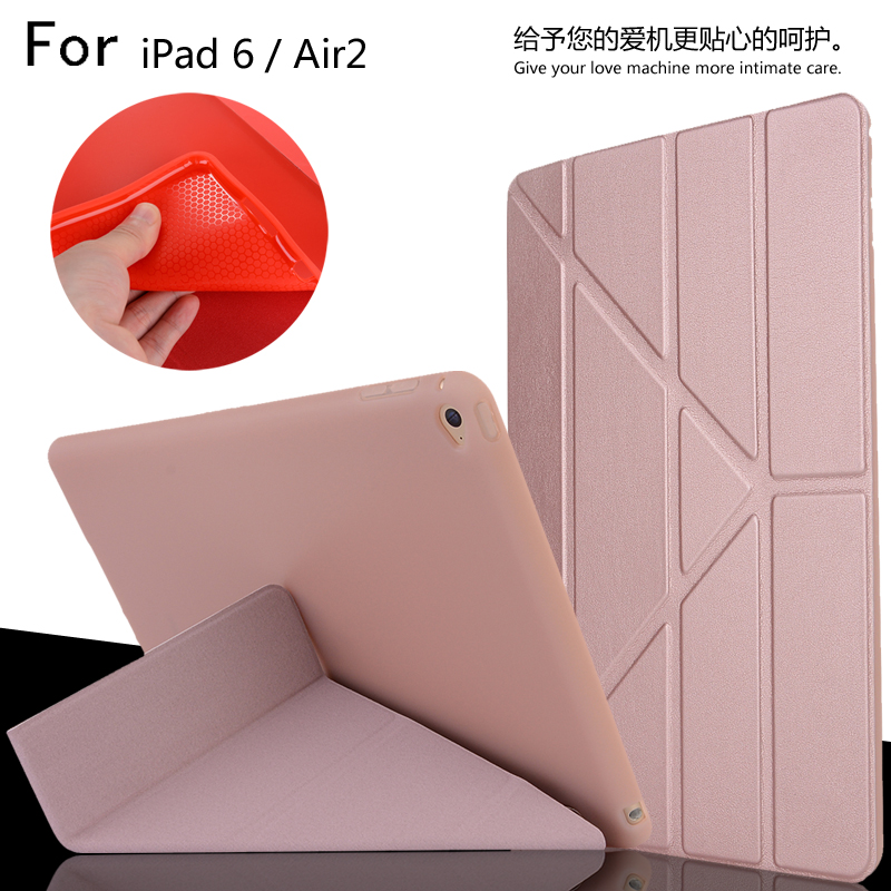 For iPad 6 / Air 2 High Quality Ultra Slim Smart Sleep Deformation TPU Leather Case Cover For iPad6 / Air2 + Film + Stylus nice soft silicone back magnetic smart pu leather case for apple 2017 ipad air 1 cover new slim thin flip tpu protective case