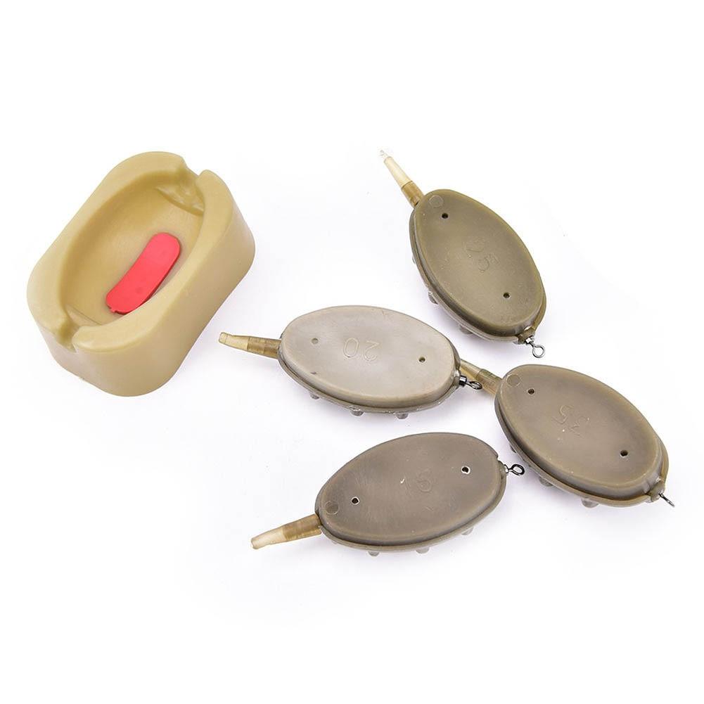 Inline Method Carp Fishing Feeder Lead Set 4 Feeders Mould Kit Plastic Baiting Tools Accessories FH99