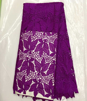 5yards High quality purple leaf embroidery cord lace fabric African water soluble lace cloth for wedding dress IW4-1